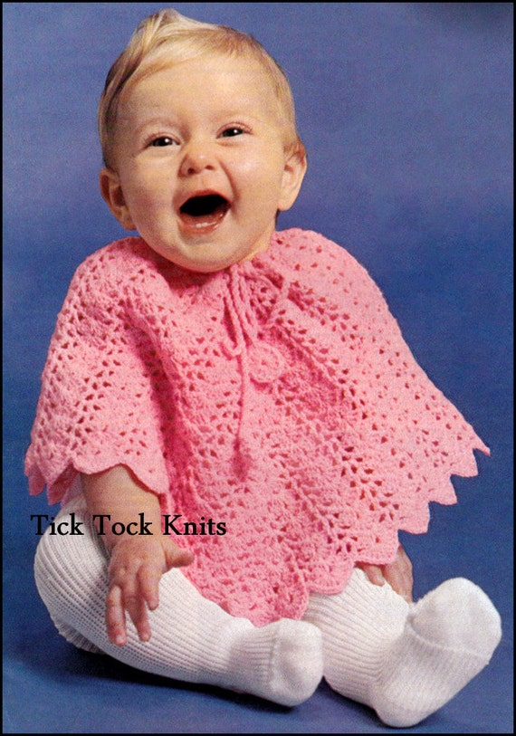 385 Baby häkeln Muster PDF-Vintage Baby / Kleinkind-Poncho