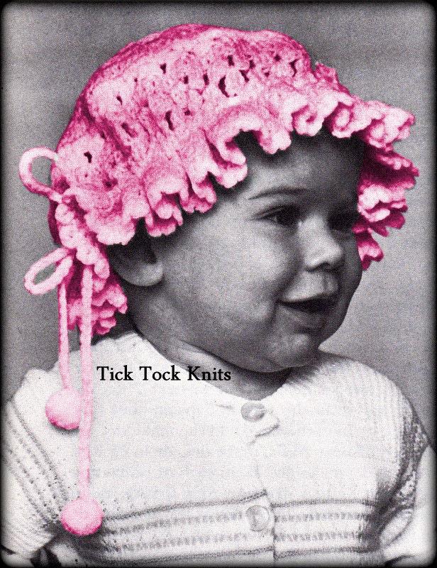 No555 Baby Hat Crochet Pattern Pdf Vintage Old Fashioned Etsy