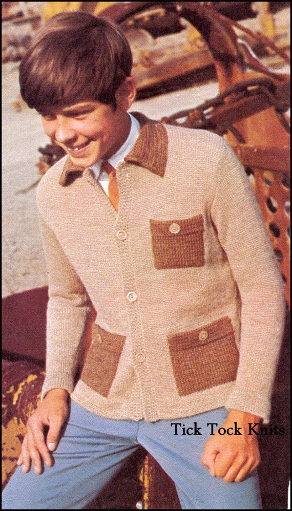No422 Teen Boys Mens Cardigan Sweater With Collar Etsy