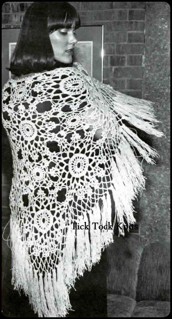 No294 Crochet Shawl Pattern Pdf Vintage Womens Snowflake Etsy