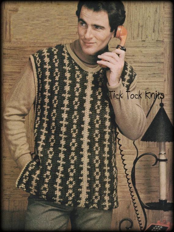 No588 Mens Crochet Pattern Pdf Mens 2 Color Vest Etsy