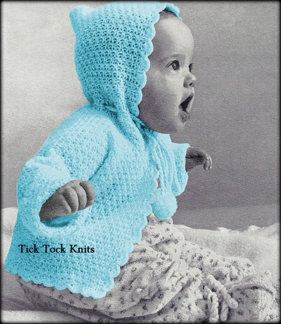 e21de1a5c No.573 Baby Knitting Pattern PDF Hooded Cardigan Sweater