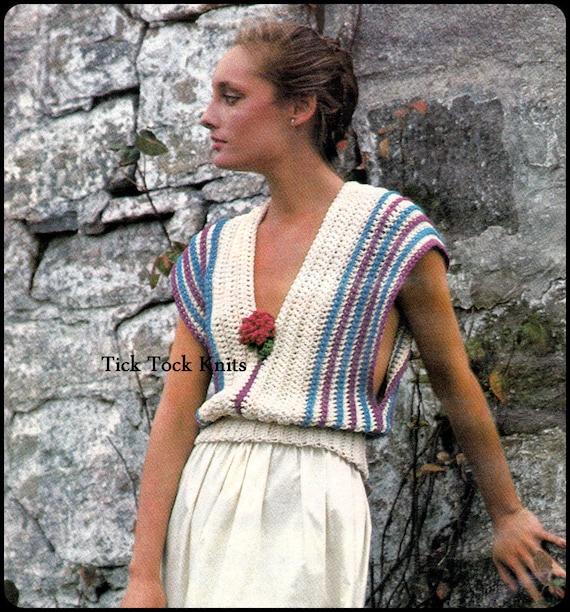 No.285 Frauen häkeln Muster Vintage modulare häkeln Bluse