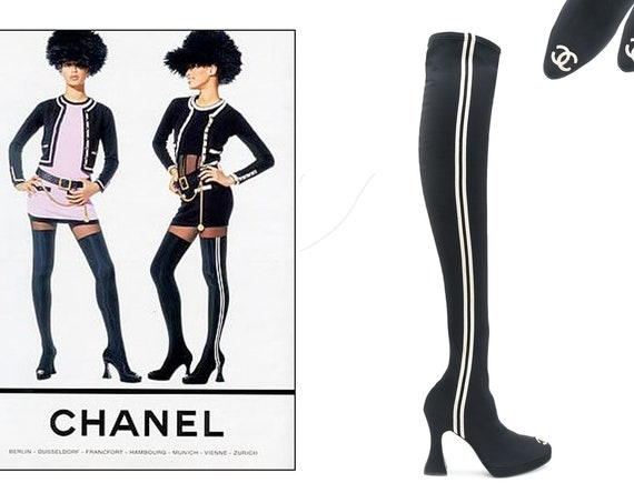CHANEL CC Logo AW 1994 Over-the-Knee Sock Boots