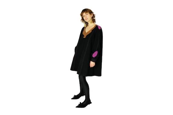 TSUMORI CHISATO Voluminous Wool Dress with Leather Applique