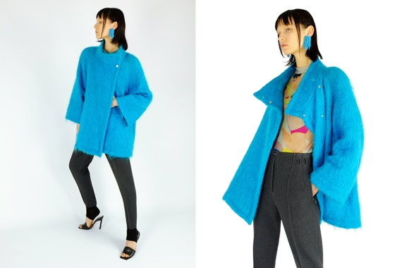 THIERRY MUGLER Blue Mohair Coat