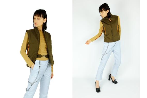 MIU MIU 90s Olive Green Nylon Vest