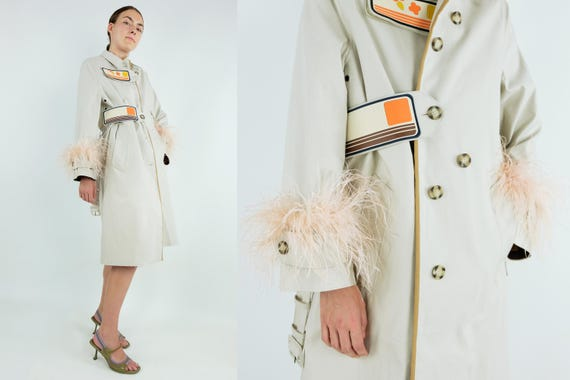 PRADA Feather Embellished  Cotton Trench Coat With Rubber Detaling