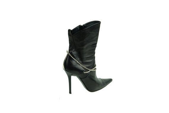 "PAOLO BIONDINI ""Magic Shoes"" Jewelled Black Leather Boots"