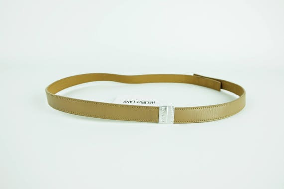 HELMUT LANG Minimalist Beige Leather Belt