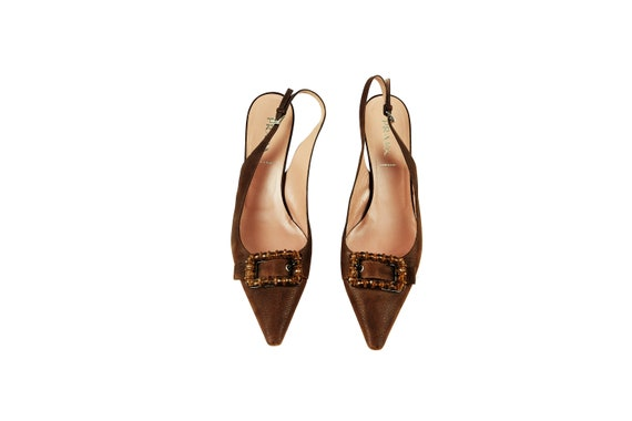 PRADA Brown Leather / Buckle Sling Back Pumps