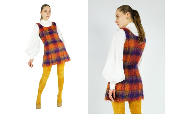 KENZO Jungle Tartan Mohair Mini Dress