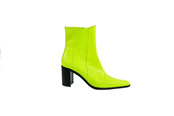 FREE LANCE Neon Yellow Pointed Leather Boots