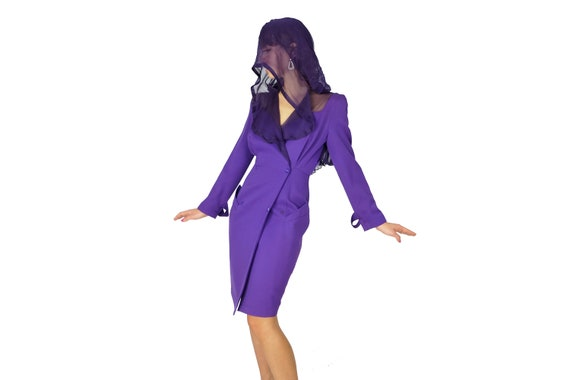 THIERRY MUGLER 1980's Hooded Tuxedo Dress