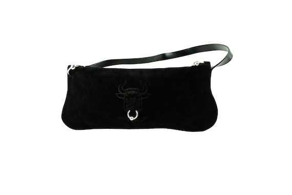 JEAN PAUL GAULTIER Pierced Black Suede Purse
