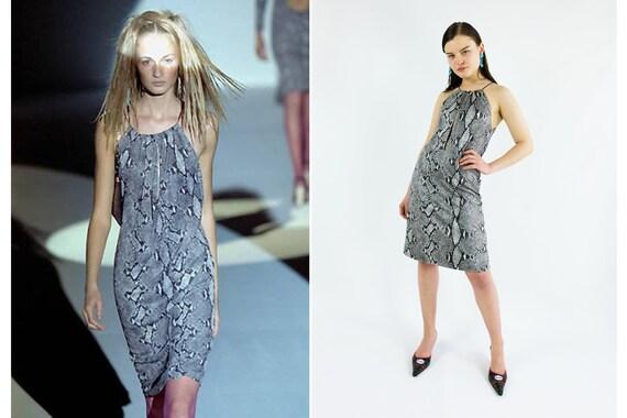 GUCCI by Tom Ford Keyhole Python Print Dress