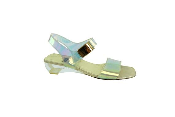 STUART WEITZMAN  Holographic / Lucite Sandals