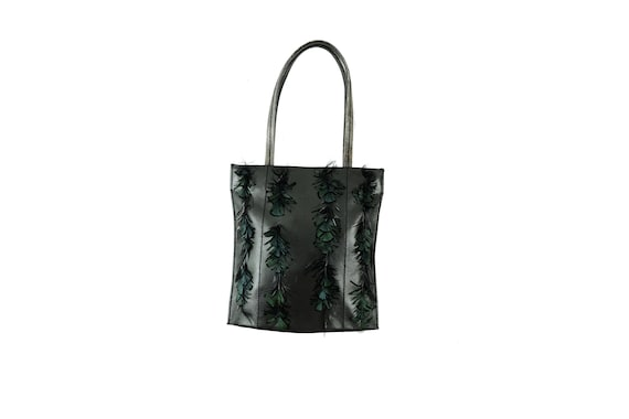 GUY LAROCHE Feather Applique Tote