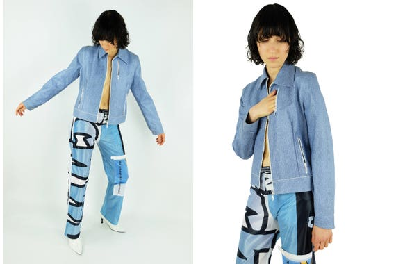 90s Vinyl Jacket Denim Print