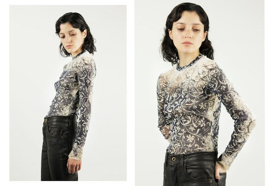 JEAN PAUL GAULTIER Floral Tattoo Print Mesh Top