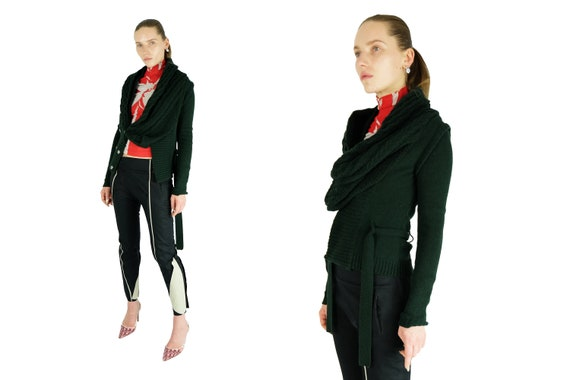 BALENCIAGA  by Nicolas Ghesquiere Olive Green Wool Cardigan
