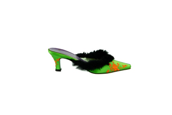 PAUL SMITH for Emma Hope Fur Trim Embroidered Mules