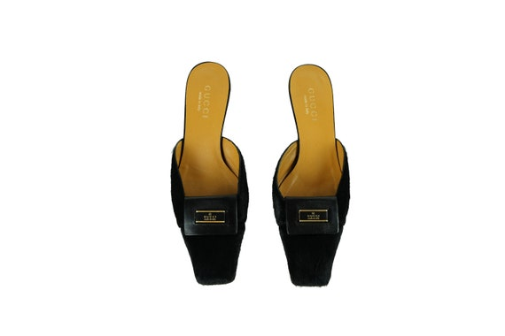 GUCCI Pony Hair Logo Mules