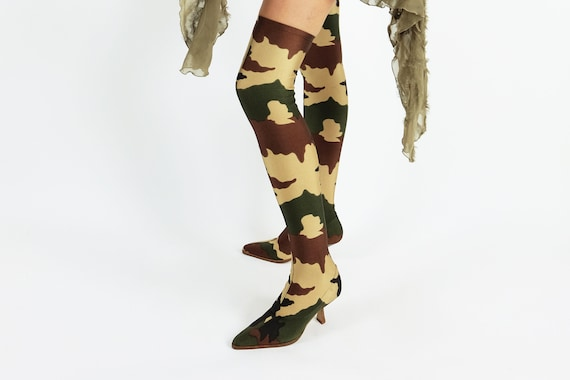 PLEIN SUD Camouflage-Print Over-the-Knee Sock Boots