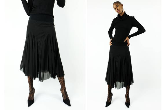 "RICK OWENS "" Olmar and Mirta "" Silk Midi Skirt"