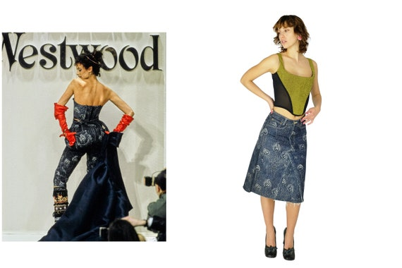 VIVIENNE WESTWOOD  FW 1994 Peacock Print Denim Skirt