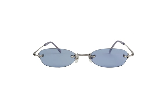 JEAN PAUL GAULTIER 58-0042 Rimless Blue Lens Sunglasses
