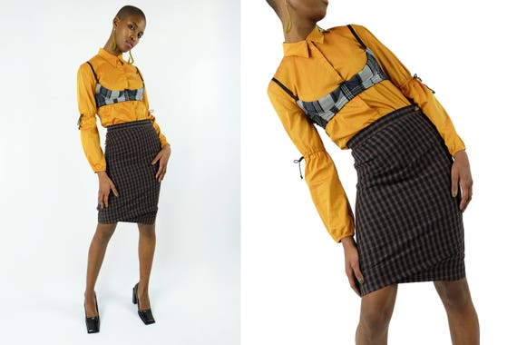 WESTWOOD  Plaid / Tartan Wool Skirt