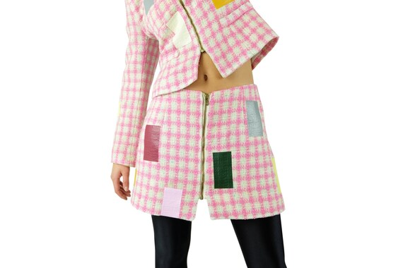Vintage Suit Pink Bouclé Plaid Wool Jacket & Skirt Suit  Customised