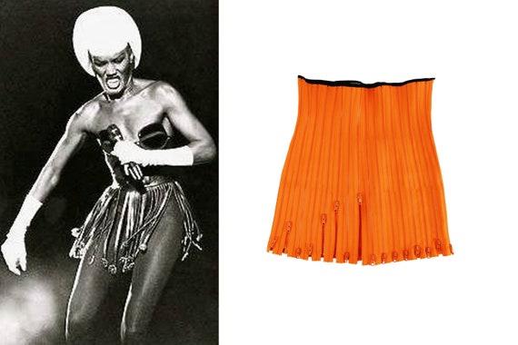SIMON AZOULAY 2 Piece Zipper Skirt + Belt Haute Couture Rare Find Collectors Item