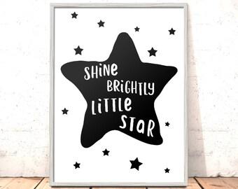 Shine Brightly Little Star Scandi Nursery Print Art for Boys Room Girls Room Kids Room Picture | Scandi Nursery Art | Modern Nursery Print