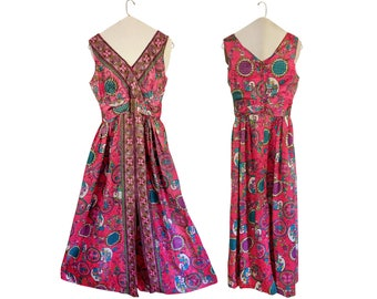 Vintage 60s Party Dress Women Psychedelic Dress 1960s Dress 60s Mod Dress Floral Maxi Dress 60s Maxi Dress Floral Maxi Dress Long Maxi Dress