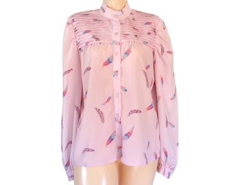 Vintage Pink Blouse Feather Shirt Feather Top Pink Shirt Pink Top Long Sleeve Shirt Spring Clothes Spring Clothing Ladies Clothing Retro Top