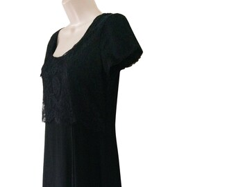Vintage Laura Ashley Dress Black Lace Dress Long Black Dress Long 90s Dress Blaxk Maxi Dress Black Boho Dress Long Silk Dress Size 6 1990s