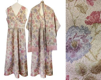 Vintage Semi Formal Dress Floral Maxi Dress 60s Maxi Dress Fringe Shawl Scarf Shawl Sparkly Dress Pink Maxi Dress 1960s Dress Day Dress