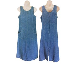 3adce3326d0 Petite Dress Women 90s Denim Dress With Pockets 90s Grunge Dress Long Denim  Dress Chambray Dress 90s Grunge Clothing Women Overall Dress