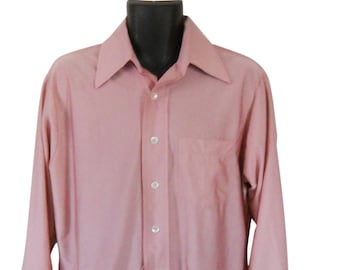 Vintage Pink Shirt Men 70s Shirt Collared Shirt 1970s Shirt Retro Shirt 1970s Clothing 70s Clothes 70s Clothing Button Down Shirt