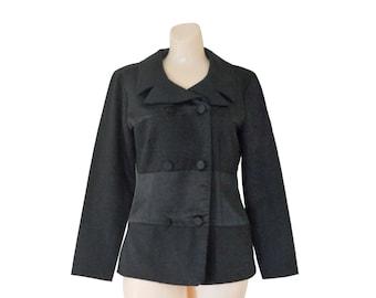 90s Blazer Black Blazer Women Blazer Ladies Blazer Black Satin Blazer Double Breasted Fitted Blazer 90s Clothing 90s Clothes Black Clothing