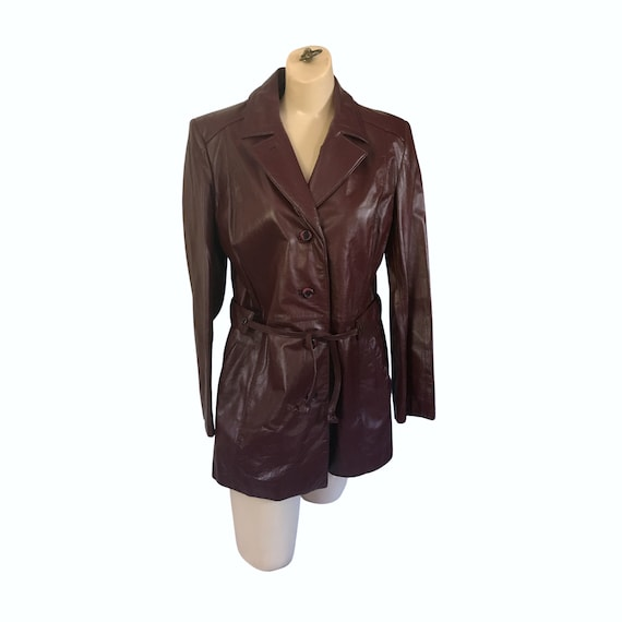 Vintage Etienne Aigner Burgundy Leather Trench Coa