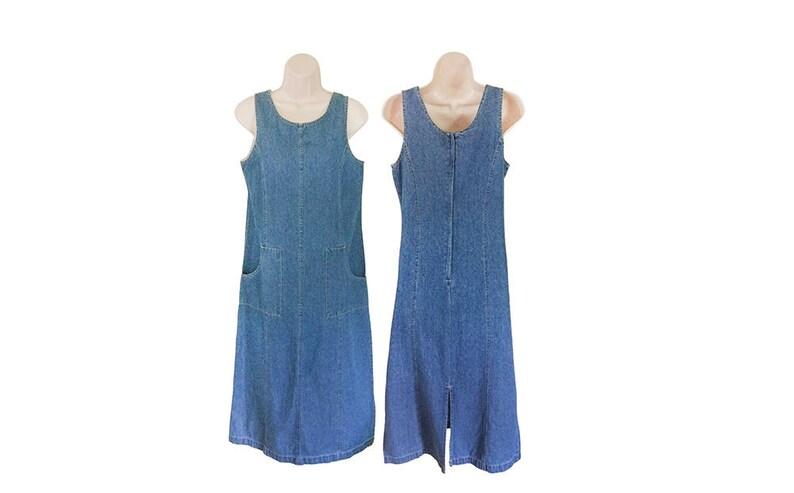 75f437c56f Petite Dress Women 90s Denim Dress With Pockets 90s Grunge