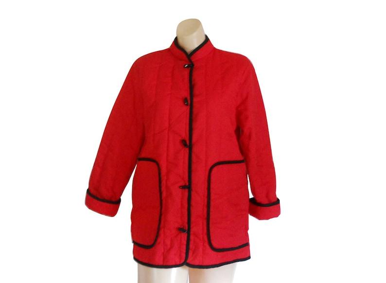 buy popular c5df3 b1821 Vintage Nehru Jacket giacca rossa donna giacca giacca asiatico orientale  giacca cinese Giacca collo alla coreana giacca trapuntata giacca leggera