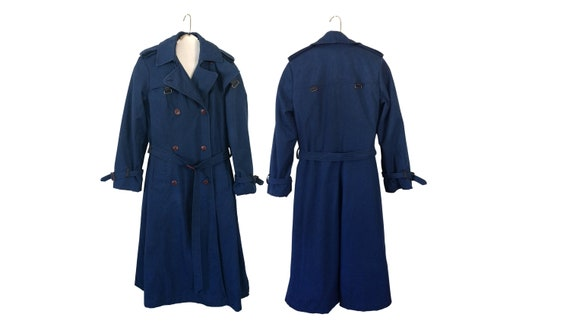 Blue Trench Coat Belt Spring Trench Double Breaste
