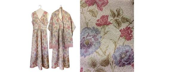 Vintage Semi Formal Dress Floral Maxi Dress 60s Ma