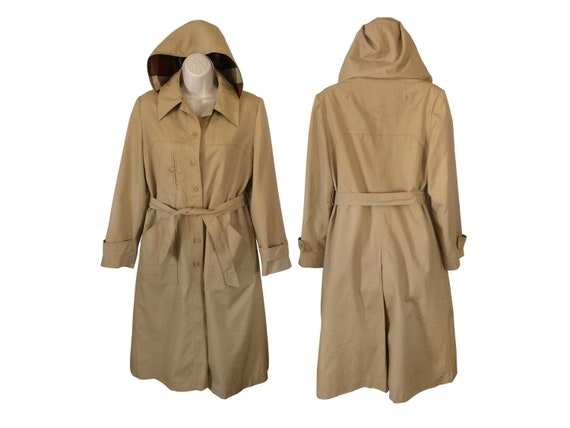 Vintage Hooded Trench Coat Tan Trench Coat Long Tr