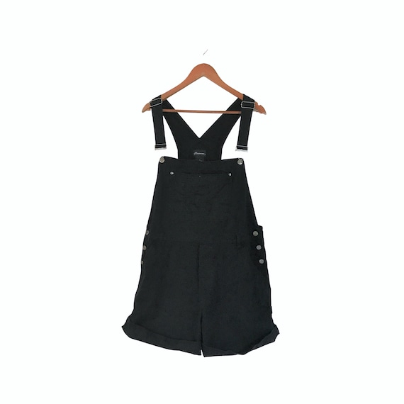 Vintage Black Denim Overall Women Overall Shorts D