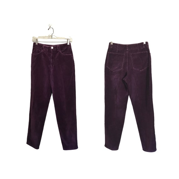 Vintage Purple Velvet Pants 90s Pants Tapered Pant